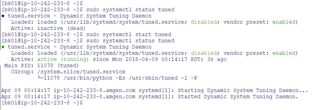 Check the status of tuned service